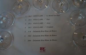 フランスでは「ヴァン・クレール」と呼ばれるベースとなるワイン(瓶内二次発酵前)と、完成形の味見。貴重な体験でした。