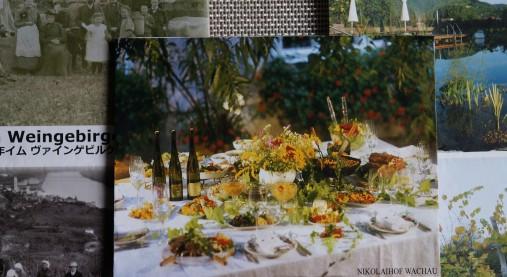 オーストリアのヴァッハウ地方にある、ニコライホフでの食卓や畑などの美しい風景。