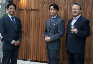 イノーヴの社長・鈴木貴幸さん(中)、ソムリエ総合監修の石田博さん(左)、遠藤利三郎商店のオーナー・遠藤誠さん(右)。プロフェッショナル勢揃いです。
