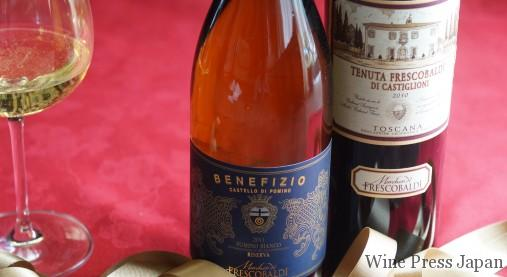 一族所有の地所から生まれるワインにはすべてMarchesi de FRESCOBALDIのロゴが。