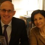 ボルドー在住で「オーパス・ワン」の国際市場を管理する責任者のローラン・ドュラスさんと、日本事務所代表のキャドビー康子さん。
