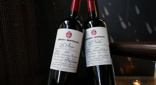 左が「ラ・フォルジュ」。右の「レ・ヴィアラ」も古樹から造られる、しなやかで上品な赤です。どちらも生産本数が限られているのでラベルに番号が記されています。