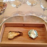 「シャトー・ル・ロゼー」のロゼ「ニゼーレ2012 」と「ピノ・ノワール2011」には、鰆味噌柚庵 芹と春子椎茸白和えの組み合わせ。