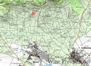 クロ・コランの位置はここ。メゾン創立に先立ち、1760年にクリコ家が買った1.4ヘクタールの畑。