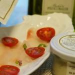 新鮮な平目に、白トリュフ塩とトスカーナのオリーブオイル。