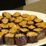 茄子の胡麻クリーム。トッピングは生姜と木の芽。