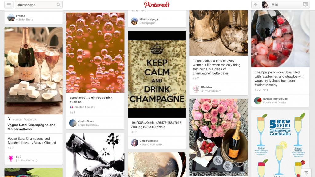 「champagne」で pinを検索した場合。泡のイメージやアレンジ方法など様々。
