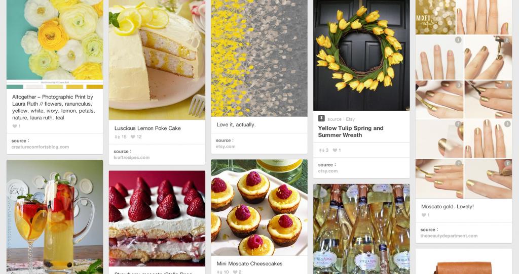 イエローをテーマにしたボード。花、ネイル、ケーキ、ファッションなどに混じってさりげなく自社製品が。
