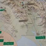スクライブの場所が立体地図に示されています。