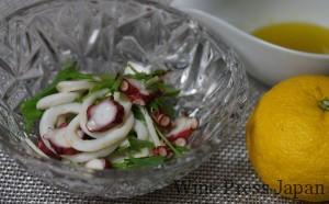 柚子の果汁とすりおろした果皮を使ったドレッシングは、ミュスカデの香りと引き立て合います。