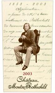 2003年はムートン取得150周年を記念し、バロン・ナサニエルの肖像。