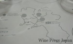 カンパーニャの地図に、3ヶ所の畑が記してあります。
