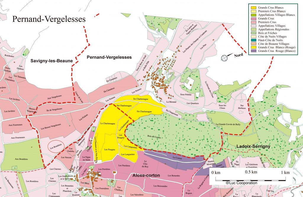 左手中央の赤い丸印がレ・バス・ヴェルジュレス。