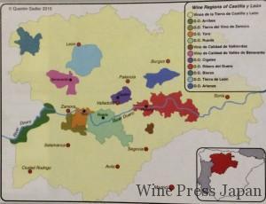 カスティーリャ・イ・レオン州の拡大図。各産地に色づけがしてあります。