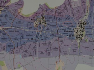 ポマール(右側)とヴォルネイは隣り合わせの村。赤丸の部分が今回のワインの畑の位置。