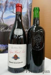エルギン・ヴァレーのボトル(これはピノ・ノワール)と、ラベルのない330周年記念ボトル(右)